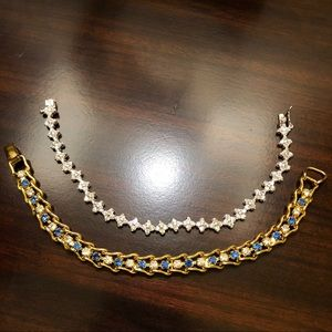 Jewelry - 2 Goldtone & Sterling Crystal Tennis Bracelets